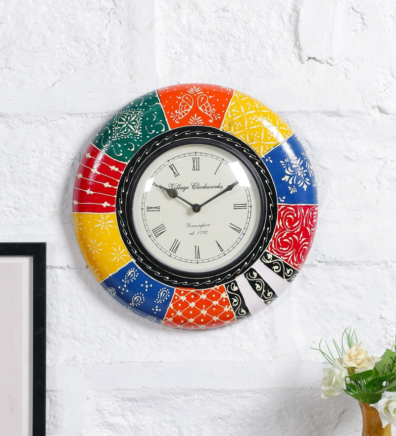 Multicolor MDF 12 Inch Round Handpainted Wall Clock by Art of Jodhpur