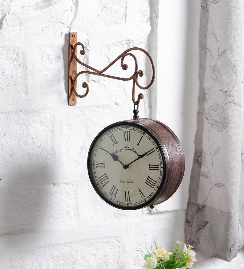 brown metal 13 x 13 x 45 inch retro station clock by art of jodhpur
