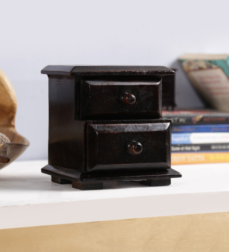 Art of Jodhpur Wenge Solid Wood Vintage Collectible with 2 Drawers