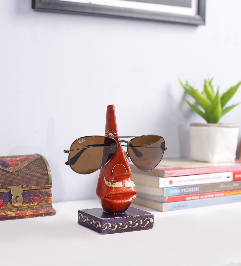 Red Solid Wood Specs Holder by Art of Jodhpur