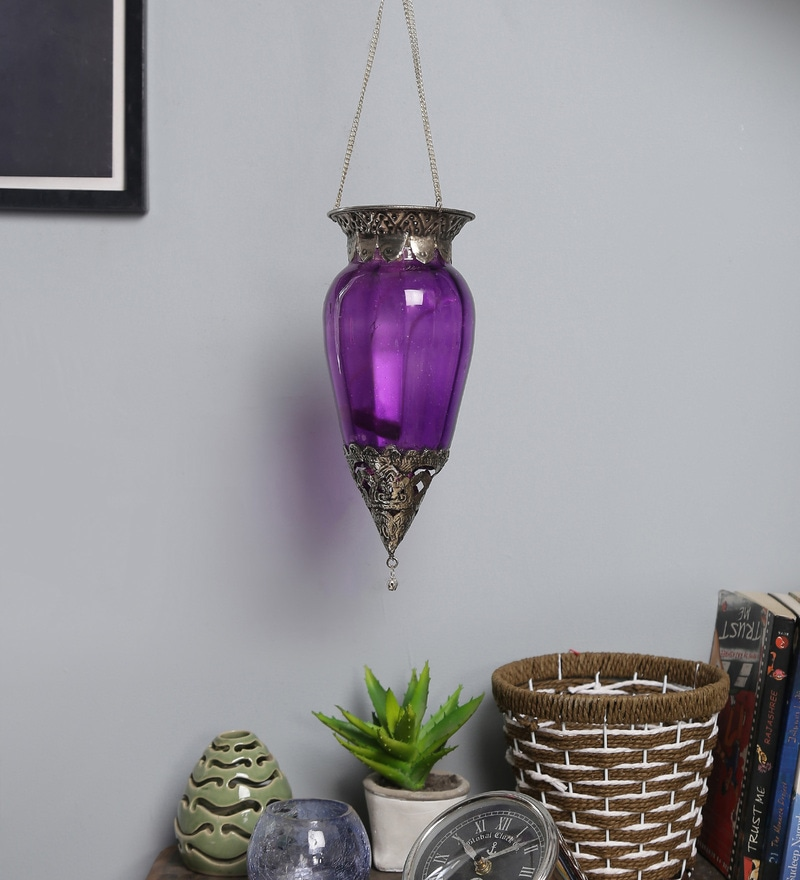 Violet Metal & Glass Candle Holder by Art of Jodhpur