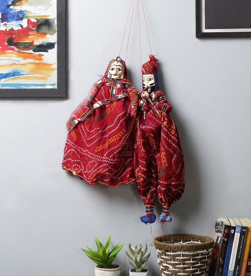 Red Cloth Pupet Wall Hangings - Set of 2 by Art of Jodhpur