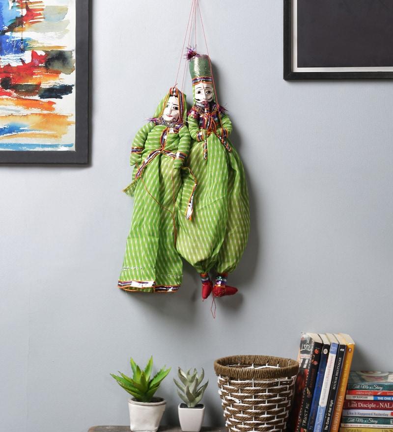 Green Cloth Pupet Wall Hangings - Set of 2 by Art of Jodhpur