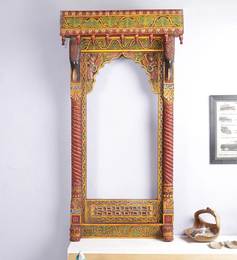 Multicolour Solid Wood Handpainted Jodhpuri Jharokha by Art of Jodhpur