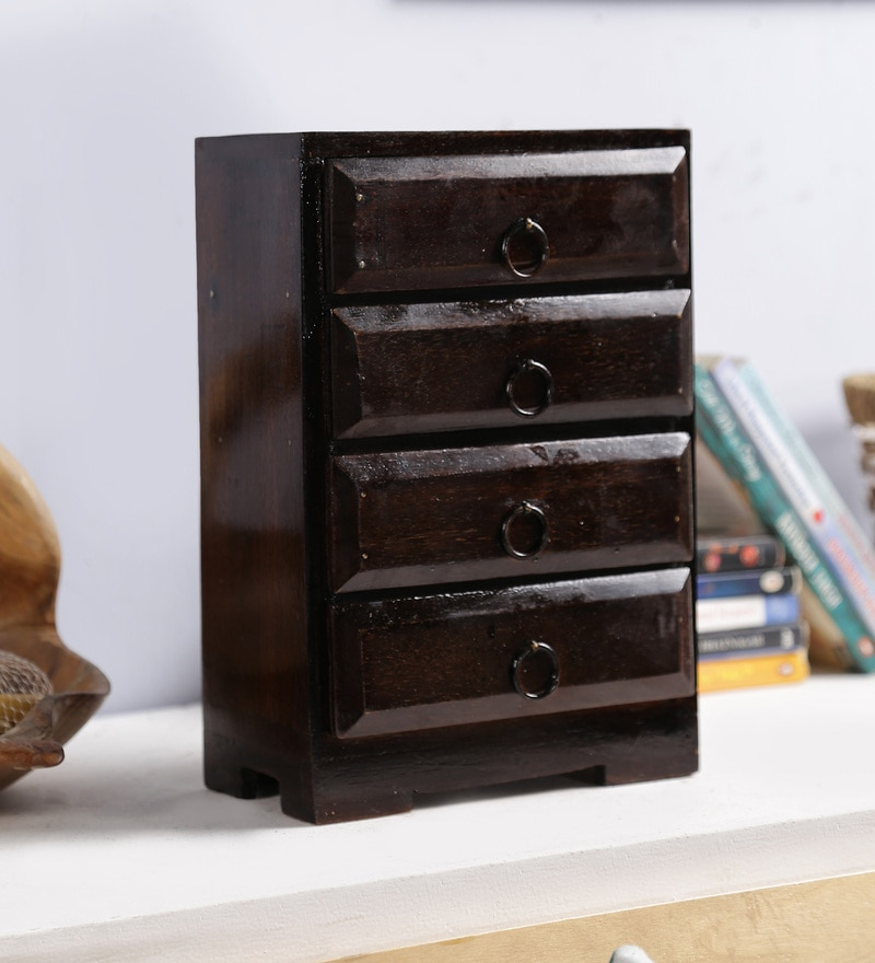 Art of Jodhpur Wenge Solid Wood Vintage Collectible with 4 Drawers