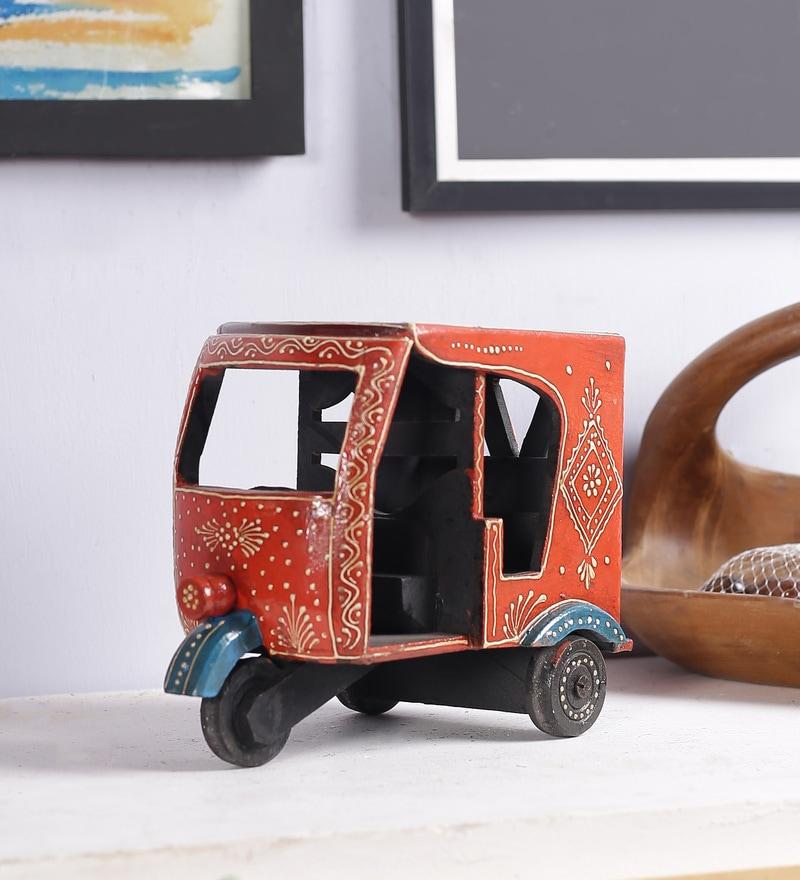Art of Jodhpur Multicolour Solid Wood  Handpainted Jodhpuri Rickshaw Showpiece