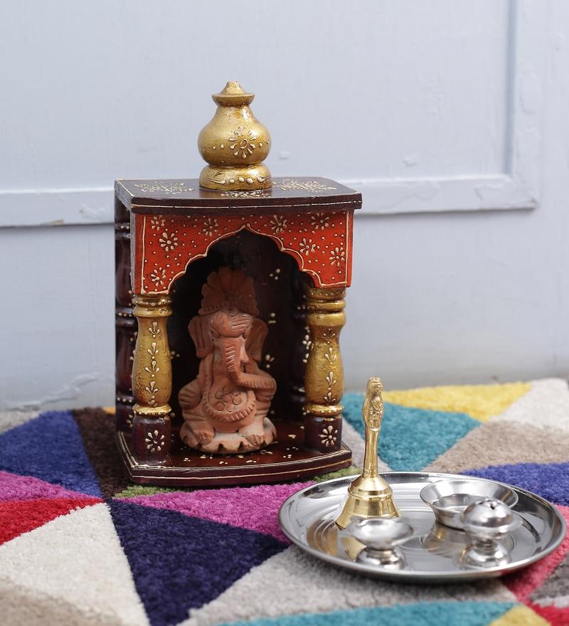 Art of Jodhpur Multicolour Solid Wood Handpainted Jodhpuri Temple