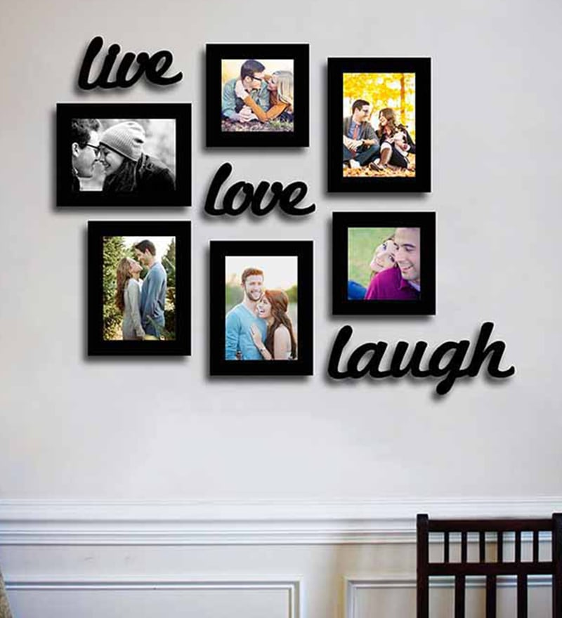 Black Fibre Wood Live-Love-Laugh Wall with Plague Photo Frame - Set of 7 by Art Street