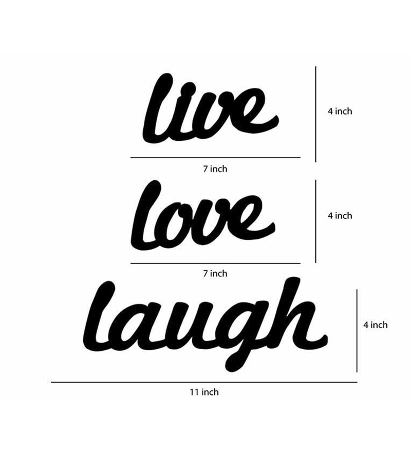 Buy Black Fibre Wood Live-Love-Laugh Wall with Plague Photo Frame ...