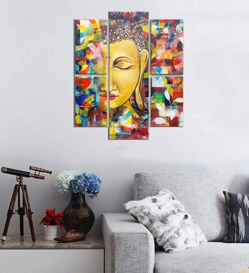 Cotton & Canvas 35.5 x 31.4 Inch Buddha Split Canvas Painting - Set of 5 by Art Street