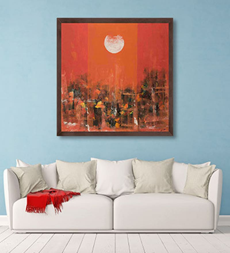 Canvas 24 x 24 Inch Chaos Under the Moonlight Framed Limited Edition Digital Art Print by Amaey Parekh by ArtCollective