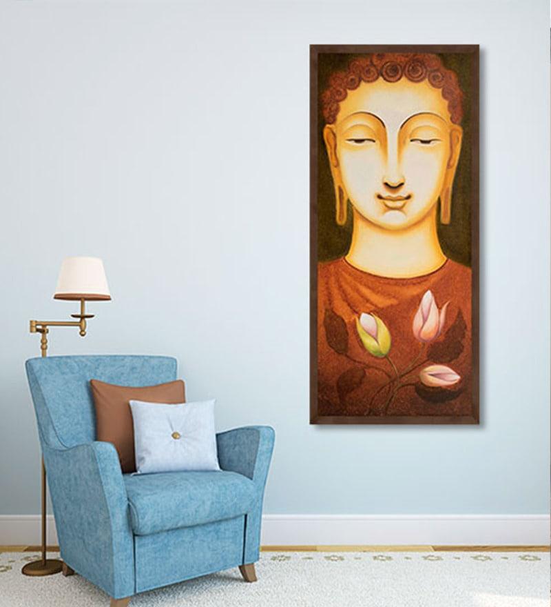 Canvas 8 x 32 Inch Lord Buddha Framed Limited Edition Digital Art Print by Ganesh Doddamani by ArtCollective