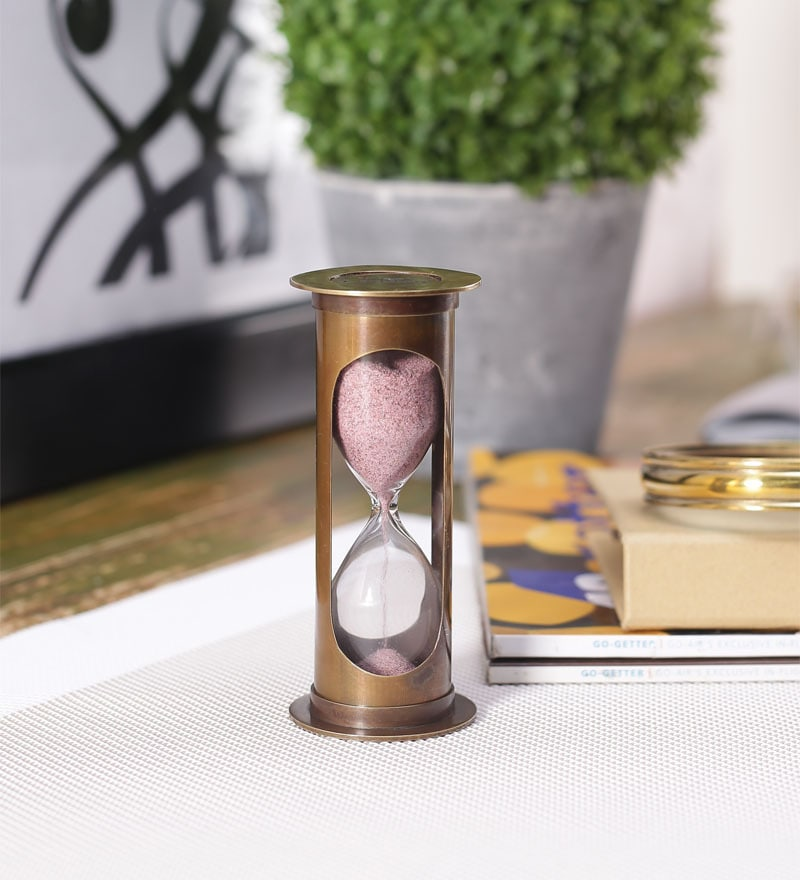 Brown Brass Antique 3-Minute Durable Hourglass by Artshai
