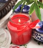 Red Wax Premium Bell Jar Candle with Satin Ribbon by Aroma India
