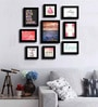 Black Fibre Wood Quirky Quote Love & Laughter Theme Wall Quote Photo Frame - Set of 9 by Art Street