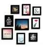 Art Street Black Fibre Wood Quote Happiness and Smile Theme Wall Quote Photo Frame - Set of 9