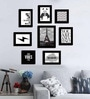Black Fibre Wood Quote Positive Vibes Theme Wall Quote Photo Frame - Set of 8 by Art Street