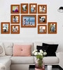 Art Street Brown Fibre Wood Painting Mantra Wall Classy Individual Photo Frame - Set of 11