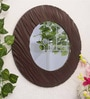 Brown MDF Wampum Wave Minimalist Wall Mirror by Art Street