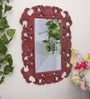 Maroon MDF Crimson Decorative Wall Mirror by Art Street