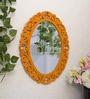 Orange MDF Rose Tiara Decorative Wall Mirror by Art Street