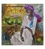 ArtCollective Village Vendor Canvas 12 x 12 Inch Framed Art Print