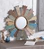 Artisans Rose Multicolour Solidwood Cart-Wheel Framed Mirror
