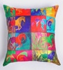 ARTychoke Multicolor Silk 12 x 12 Inch Horse Swirl Cushion Cover