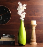 Green Wooden Lacquer Long Vase