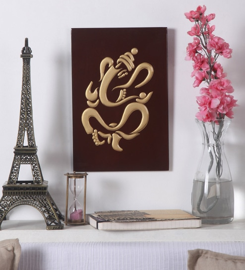 Red Wooden Vietnamese Lacquer Ganpati Wall Hanging Frame by Asian Artisans