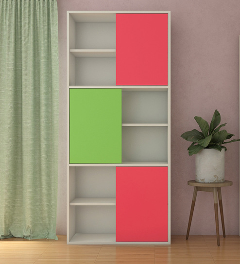 Astra Kids Bookshelf-cum-Storage Cabinet in Strawberry Pink And Green  Colour by Adona