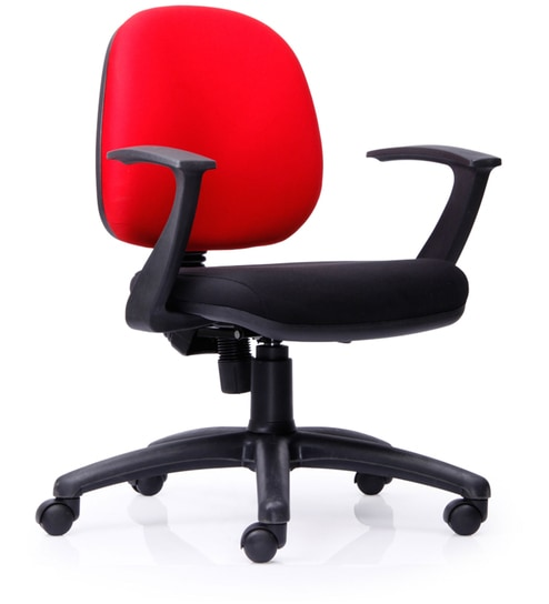 Astro Low Back Chair in Black & Red Colour by Durian