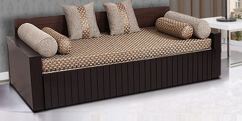 Buy Aster Elegant Sofa Cum Bed In Walnut Finish By Arra