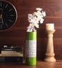 Green Wooden Lacquer Long with Shells Vase by Asian Artisans