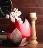 Asian Artisans Multicolour Wooden Gold Leaves Vase