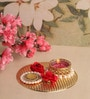 Asian Artisans Metal Gold & Pearl Ornate Roses Tea Light Holder