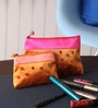 Asian Artisans Polka Dots Silk Orange Travel Accessory Pouch - Set of 2