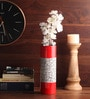 Red Wooden Lacquer Long with Shells Vase by Asian Artisans