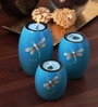 Asian Artisans Blue Wood Oval Candle Stand - Set of 3