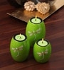Asian Artisans Green Wood Oval Tea Light Stand - Set of 3