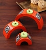 Asian Artisans Red Wood Arched Candle Stand - Set of 3