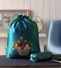 Asian Artisans Silk Blue Travel Accessory Pouch - Set of 2