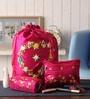 Asian Artisans Silk Dark Pink Travel Accessory Pouch - Set of 3