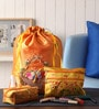 Asian Artisans Silk Orange Travel Accessory Pouch - Set of 3