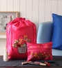 Asian Artisans Silk Shocking Pink Travel Accessory Pouch - Set of 2