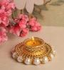 Asian Artisans Gold & Pearl Metal Tea Light Holder