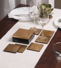 Asian Artisans Vietnamese Bronze Wood with Lacquer Coating Coasters with Box - Set of 6