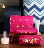 Asian Artisans Vietnamese Silk Dark Pink Travel Pouch - Set of 3
