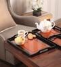 Asian Artisans Vietnamese Indian Design Orange Wood & Lacquer Coating Tray - Set of 3