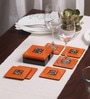 Asian Artisans Vietnamese Orange Wood with Lacquer Coating Coasters with Box - Set of 6